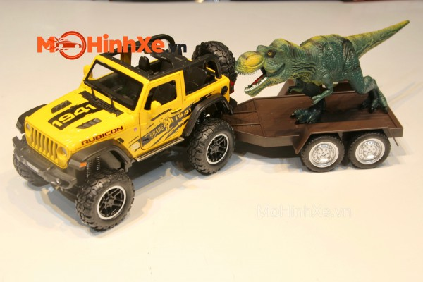 Jeep Rubicon Off-Road kèm khủng long 1:24 Mini Auto