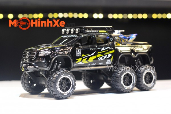 Mercedes X-Class EXY Monster X 6x6 Off-Road + Moto Yamaha 1:28 XHD